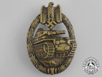 An Early German Bronze Grade Panzer Badge in Tombac