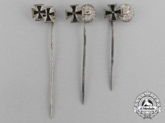 A Grouping of Three Second War German Iron Cross 1939 Stick Pins