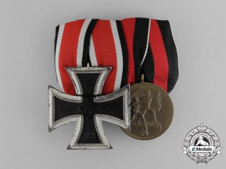 A Parade Mounted Iron Cross 1939 Second Class & Sudetenland Medal Bar