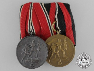 A Parade Mounted Commemorative Austrian Anschluss & Sudetenland Medal Bar