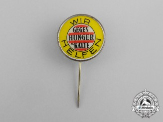 """A Third Reich German """"We are helping fight hunger and the cold"""" Donation Badge by Paulmann & Crone"""