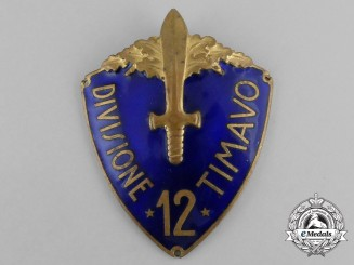 An 12th Infantry Division of Timavo (12ª Divisione fanteria Timavo) Sleeve Shield