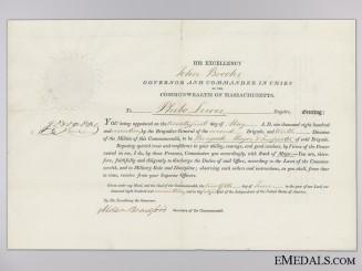 An 1817 Massachusetts Militia Commission Document to Brigade Major Lewis
