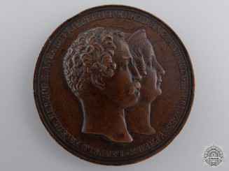 An Anhalt 1818-1842 Leopold IV Frederick to Frederica Wilhelmina Marriage Medal