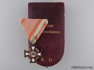 An Austrian Cased Military Merit Cross; Third Class