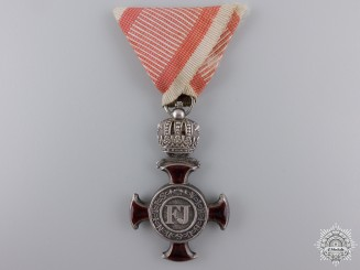 An Austrian Silver Cross of Merit with Crown by W.Kunz