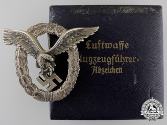 An Early Cased Luftwaffe Pilot's Badge by Gebrder Wegerhof