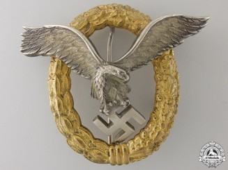 An Early Combined Pilot's & Observers Badge by Friedrich Linden, Ldenscheid