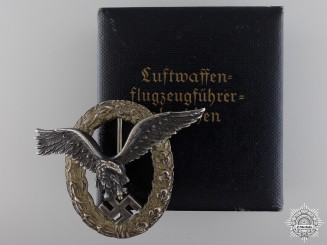 An Early Pilot's Badge by C.E. Juncker with Case