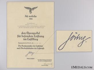 An Honour Goblet Award Document to the Condor Legion