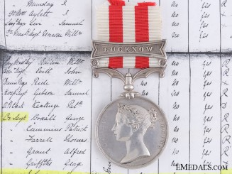 An Indian Mutiny Medal to Colour Sergeant Johnson; 20th Regiment of Foot