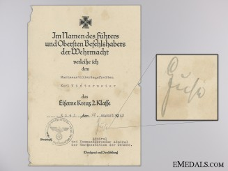 An Iron Cross 2nd Class Award Document to Naval Artillery Battery