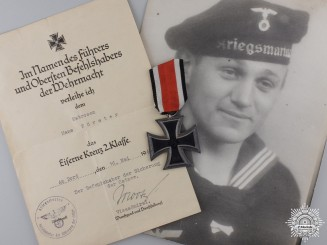 An Iron Cross Second Class & 1940 Document to the Kriegsmarine