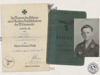An Iron Cross Second Class Document to 5th Fallschirmjäger