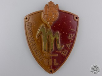 An Italian Bari Fascist Youth Membership Badge