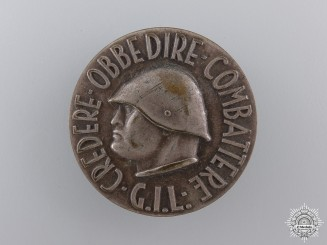 An Italian Fascist Youth GIL (Gioventu Italiano Del Littorio) Badge