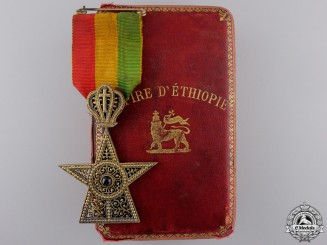 An Order of the Star of Ethiopia; 4th Class Knight with Case