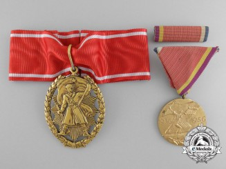A Scarce Yugoslav Spanish Civil War Medal and Order of People's Hero; Awarded to Lieutenant Colonel Pavle Vukomanović