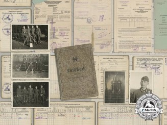 An SS Soldbuch, Photos, Documents to Oberkanonier