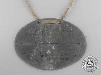 A Second War German ID Tag; Customs (Zollgrenzschutz) Paris