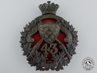 A 43rd Canadian Regiment of Militia (The Duke of Cornwall's Own Rifles) Helmet Plate, c. 1907