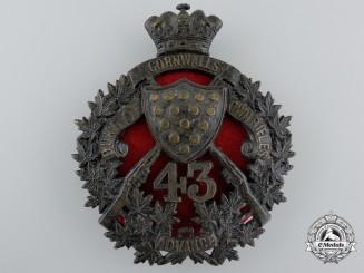 A 43rd Canadian Regiment of Militia (The Duke of Cornwall's Own Rifles) Helmet Plate, c. 1907