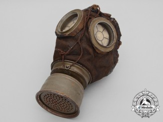 A First War German A1 Gas Mask with Canister; Bourlon Wood 1918