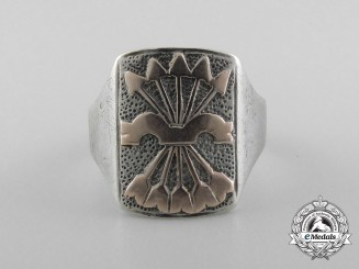 A Spanish Fascist Second War Period Silver and Gold Ring