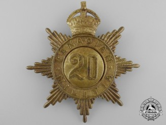 A 20th Regiment (Haldimand Rifles) Canadian Militia Helmet Plate c. 1908