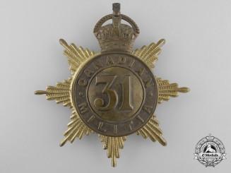 A 31st Grey Regiment Canadian Militia Helmet Plate c. 1908
