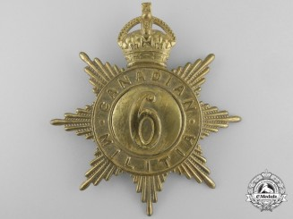 A 6th Regiment (The Duke of Connaught's Own Rifles) Canadian Militia Helmet Plate c. 1908