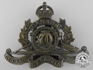 A First War Canadian 70th Overseas Field Battery Cap Badge