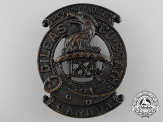 """A First War 134th Infantry Battalion """"48th Highlanders"""" Glengarry Badge"""