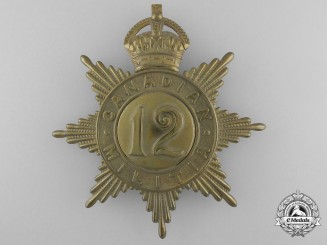 A 12th York Rangers Canadian Militia Helmet Plate c. 1908