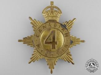 A 4th Regiment (Chasseurs Canadiens) Canadian Militia Helmet Plate, c. 1908