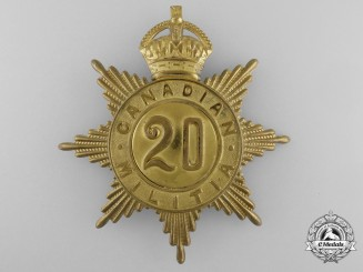 A 20th Regiment (Haldimand Rifles) Canadian Militia Helmet Plate c. 1908