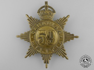 A 59th Stormont & Glengarry Regiment Canadian Militia Helmet Plate c. 1908