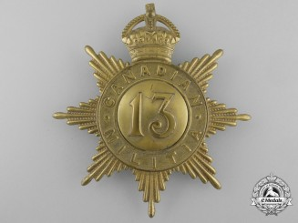 A 13th Regiment (later Royal Hamilton Regiment) Canadian Militia Helmet Plate c. 1908