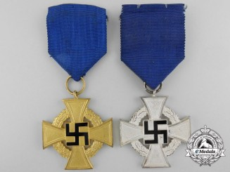 Two German Faithful Service Crosses