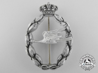 An Italian Regia Aeronautica Rescue Qualification Badge, Silver Grade