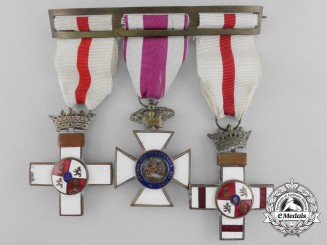 A Spanish Order of Military Merit & St. Hermenegildo Medal Bar