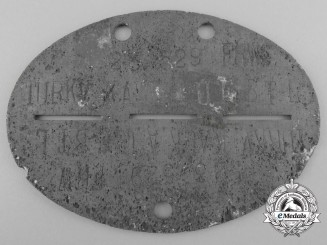 A Second World War Identification Tag; Turkistan