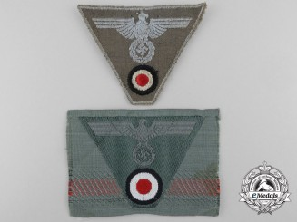 Two German Trapezoid Cap Insignia