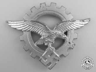A  Luftwaffe Civilian Technician's Officer's Visor Cap Badge