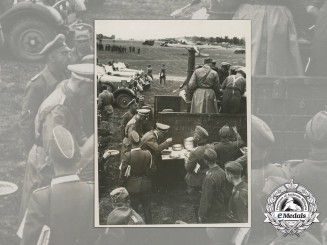 A Large H. Hoffmann Press Photo of AH in the field with Army/SS Troops