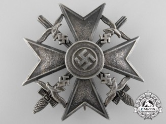 A Spanish Cross in Silver with Swords; Marked 900 Silver