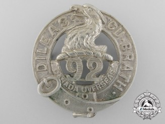 "A First War 92nd Infantry Battalion ""48th Highlanders"" Glengarry Badge"