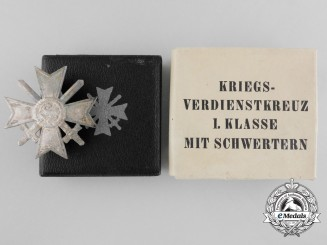 A War Merit Cross First Class with Swords by Deschler in Case