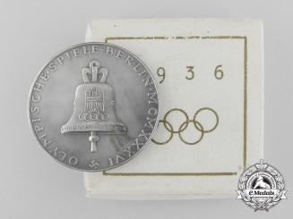 A 1936 Olympic Medal with Case; Silver Version