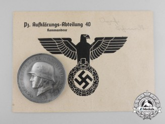A 1940 14th Panzer Division Medal with Document by Deschler